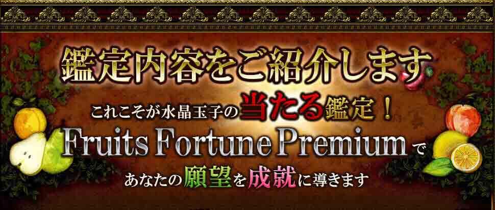 鑑定内容をご紹介します これこそが水晶玉子の当たる鑑定! Fruits Fortune Premiumであなたの願望を成就に導きます